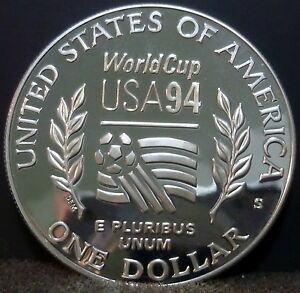 1994 S World Cup Commemorative Proof Silver Dollar