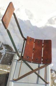 Vintage Wrought Iron Wood Slat Cafe Bistro Steam Ship Deck Folding Chair c. 1900