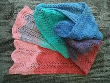 SCARF - HAND KNITTED LACE PATTERN - MULTI - 2m 10cm LONG