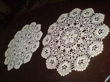2 Handmade- Knitted- Cotton- Crochet- Lace- Ecru -Doilies