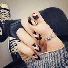 Press On False Nails Manicure Finger Art Geometric Black Gold Designed 24pcs/set