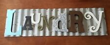 Laundry Galvanized Decorative Signs Metal Colorful Wooden Letters Wall Room Wash
