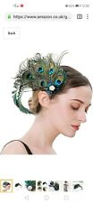 Peacock feathers hair clipWomen, Flapper Accessories Gatsby Hair Feather...