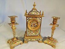 Fabulous Champlevé Enamel French Clock Set C1890.