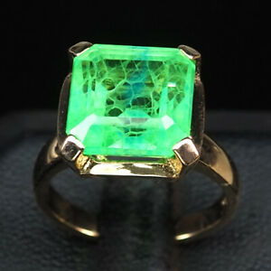 EMERALD GREEN OCTAGON 10.90 CT. 925 STERLING SILVER ROSE GOLD RING SZ 6.5 GIFT