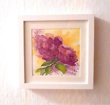 Aquarellbild *Rosen *, im weißen Holzrahmen, 20 x 20 cm, Originalbild, Neu