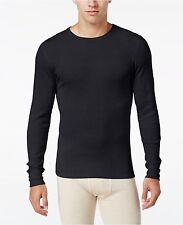 $60 ALFANI Men's THERMAL KNIT SHIRT Long Sleeve Black CREW NECK UNDERWEAR SIZE L