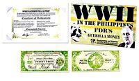 World War II In The  Philippines: FDR'S  Guerilla Money, Banknote,Story & Folder
