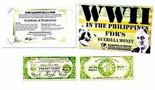 World War II In The  Philippines: FDR'S  Guerilla Money, Banknote,Story & Folder