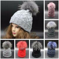 Women Wool Knitted Beanie Fur 15cm Pom Bobble Winter Warm Hat Crochet Ski Cap