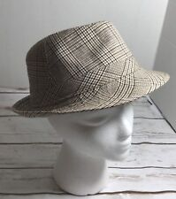 Tan Brown  PLAID - MEDIUM SIZE - TRILBY FEDORA STYLE CAP HAT