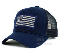 USA American Flag hat Mesh Tactical Operator Snapback Baseball cap- Navy Blue