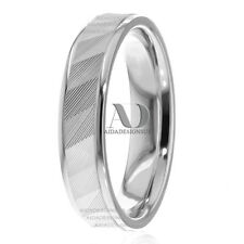 14K Gold Pinstriped Patterned & Shiny Edges Flat His / Hers Wedding Band Ring