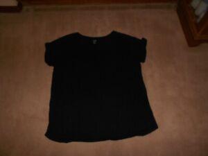A New Approach A.n.a Womens XL Black Short Sleeve Pocket Tee Shirt Top Soft