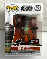 Funko Pop! STAR WARS THE MANDALORIAN IG-11 With THE CHILD GameStop Exclusive NEW