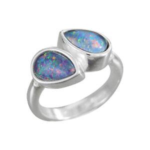 Schmuck-Michel Ring Silber 925 mit 2 Opal-Tripletten Tropfen (1330)  Größe 63