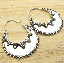 925 Silver Plated WOMEN'S Fashion JEWELRY, Half Moon HOOP Earrings MADE IN INDIA