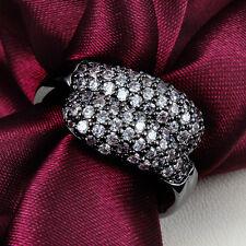 Double Snake Head  Rings 18K Black Gold Vintage Zircon Crystal Wedding Gift New