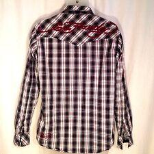 Ed Hardy Plaid Button Up Shirt Long Sleeve Men's Size Medium M