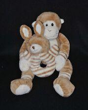 Peluche doudou singe tenant son lapin grelot AJENA  beige brun crème 29 cm TTBE