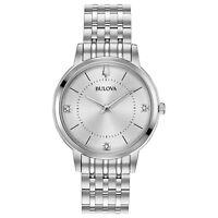 Bulova Women's Quartz Diamond Accents Silver-Tone Bracelet 33mm Watch 96P183