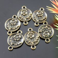 80pcs Vintage Bronze Alloy Flower Round Connector Pendant Jewelry Charms Making