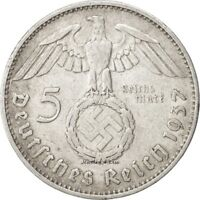 One (1) WW2 German 🇩🇪 5 Mark Silver Coin Third Reich Reichsmark Large Swastika