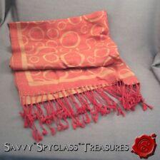 Pashmina and Silk Shawl Wrap Hijab Scarf Geometric Circles Red & Orange