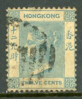 China 1863 Hong Kong 12¢ Watermark CCC QV SG #12 VFU C486