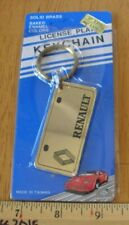 RENAULT license plate keychain solid brass early 1980s NOS baked enamel colors