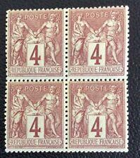 Nº 88 4 c Lilas Brun Neuf ** Bloc De 4 Gomme Intacte Cote 60€ +50%