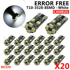 20X White T10 W5W LED 8 SMD 3528 Canbus OBC No Error Dome Door Side lights bulbs