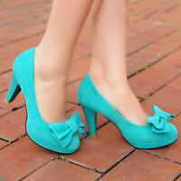 Womens Dress Pumps Bowtie Pointed Toe Block High Heel Party Ladies Sandals Shoes