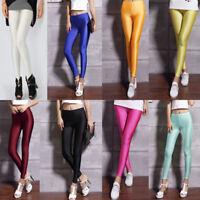 Women Sexy Fluorescent Stretchy Disco Shiny Wet Slim Yoga Leggings Pants Fashion