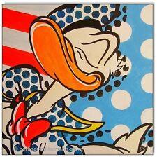 KLAUSEWITZ: ORIGINAL ACRYL GEMÄLDE AUF LEINWAND: DONALD DUCK POP ART / 40x40 cm