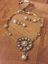 Indian Pakistani Ethnic Antique Gold Finish Jewelry Pendant  Necklace Earring