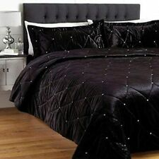 5 Piece Velvet Crystal Quilted Duvet Cover Set Twin Twin Xl Size Black Color