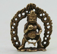 Collect Nepal Buddhism Bronze Mahakala Wrathful Deity Wealth God Statue Pendant