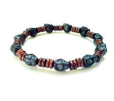 Men's shamballa beaded stretch bracelet stone Skull wooden beads wristband cuff