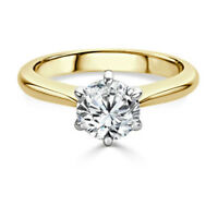 Solitaire 2.00Ct Diamond Engagement Ring Size N Hallmarked 14K Yellow Gold 30