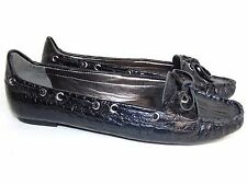 TALBOT'S 7 B BLACK CROCO. LEATHER LOAFERS/FLATS $109