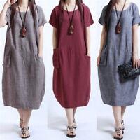 Plus Size Women Short Sleeve Pocket O-neck Linen Loose Skirt Casual Long Dress@@