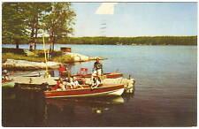 1956 Photo PC Aitkin MN Lake WOOD BOATS Dock FISHING