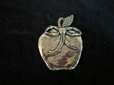 Ornament / Pendant / Necklace unique Sheridan Pewter Apple with Bow Christmas