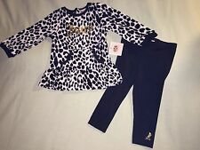 NEW JUICY COUTURE BABY 6 12 MONTHS OUTFIT WHITE BLACK TUNIC LEGGINGS SO CUTE!