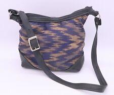 HANDCRAFTED WOMEN'S SHOULDER PURSE HOBO HAND BAG BLUE,GOLD FABRIC BLACK TRIM NEW
