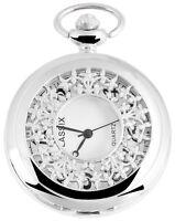 Taschenuhr Weiß Silber Klassik Fenster Blumen Analog Quarz D-12602200025350