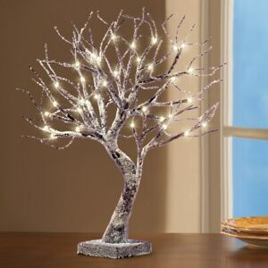 Snow Frosted LED Lighted Tree Christmas Tabletop Centerpiece