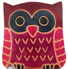 TRANSOMNIA OWL LEATHER COIN PURSE /COIN BOX. BLUE EYED, BURGUNDY & DARK PINK OWL