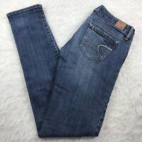 American Eagle Stretch Skinny Jeans Women's Sz 2 Long Medium Wash Low Rise 30x32
